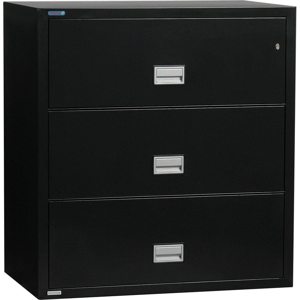 Phoenix Safe International Black Phoenix LAT3W44 Lateral 44 inch 3-Drawer Fireproof File Cabinet LAT3W44B