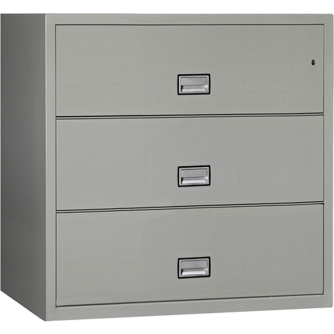 Image of Phoenix Safe International Light Grey Phoenix LAT3W44 Lateral 44 inch 3-Drawer Fireproof File Cabinet LAT3W44LG