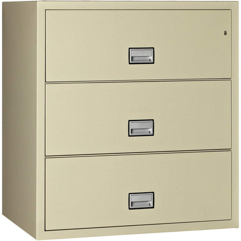 Image of Phoenix Safe International Putty Phoenix LAT3W44 Lateral 44 inch 3-Drawer Fireproof File Cabinet LAT3W44P