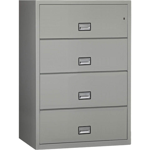 Phoenix Safe International Light Grey Phoenix LAT4W38 Lateral 38 inch 4-Drawer Fireproof File Cabinet LAT4W38LG