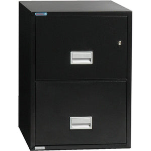 Phoenix Safe International Black Phoenix LGL2W25 Vertical 25 inch 2-Drawer Legal Fireproof File Cabinet LGL2W25B