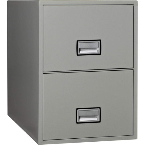 Image of Phoenix Safe International Light Grey Phoenix LGL2W25 Vertical 25 inch 2-Drawer Legal Fireproof File Cabinet LGL2W25LG