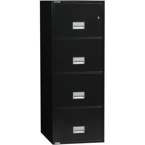Phoenix Safe International Black Phoenix LGL4W25 Vertical 25 inch 4-Drawer Legal Fireproof File Cabinet LGL4W25B