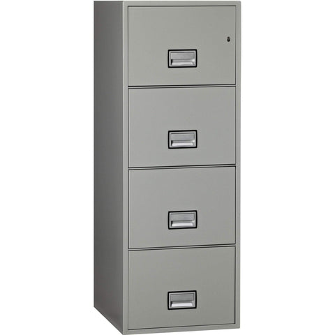 Phoenix Safe International Light Grey Phoenix LGL4W25 Vertical 25 inch 4-Drawer Legal Fireproof File Cabinet LGL4W25LG