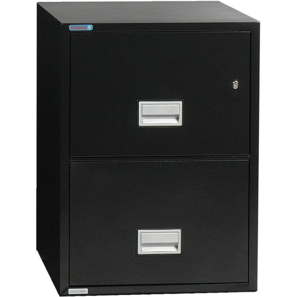 Phoenix Safe International Black Phoenix LTR2W25 Vertical 25 inch 2-Drawer Letter Fireproof File Cabinet LTR2W25B