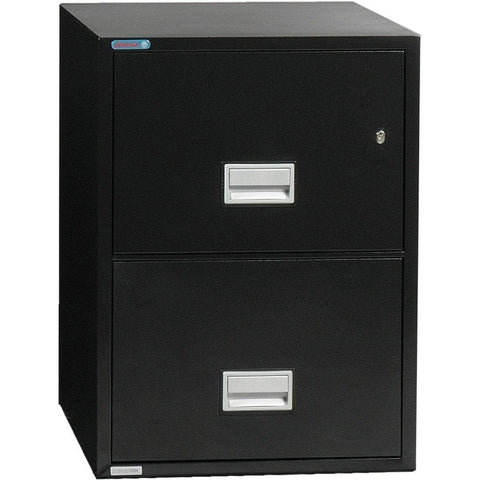 Image of Phoenix Safe International Black Phoenix LTR2W25 Vertical 25 inch 2-Drawer Letter Fireproof File Cabinet LTR2W25B