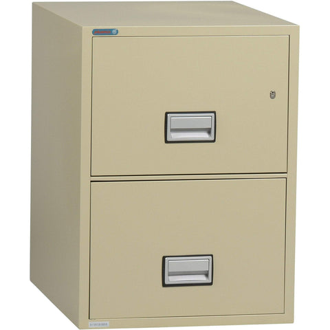 Image of Phoenix Safe International Putty Phoenix LTR2W25 Vertical 25 inch 2-Drawer Letter Fireproof File Cabinet LTR2W25P