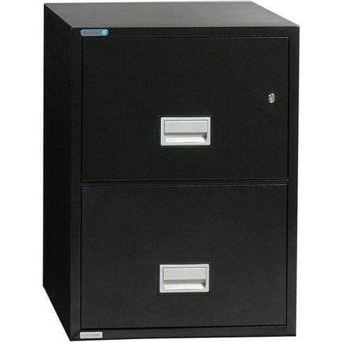 Image of Phoenix Safe International Black Phoenix LTR2W31 Vertical 31 inch 2-Drawer Letter Fireproof File Cabinet LTR2W31B