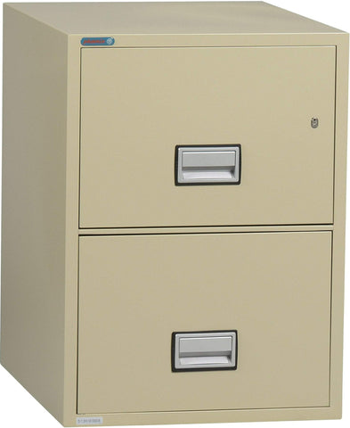 Image of Phoenix Safe International Putty Phoenix LTR2W31 Vertical 31 inch 2-Drawer Letter Fireproof File Cabinet LTR2W31P