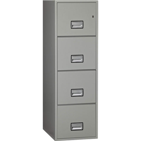 Phoenix Safe International Light Grey Phoenix LTR4W25 Vertical 25 inch 4-Drawer Letter Fireproof File Cabinet LTR4W25LG