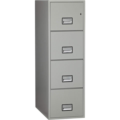 Image of Phoenix Safe International Light Grey Phoenix LTR4W31 Vertical 31 inch 4-Drawer Letter Fireproof File Cabinet LTR4W31LG