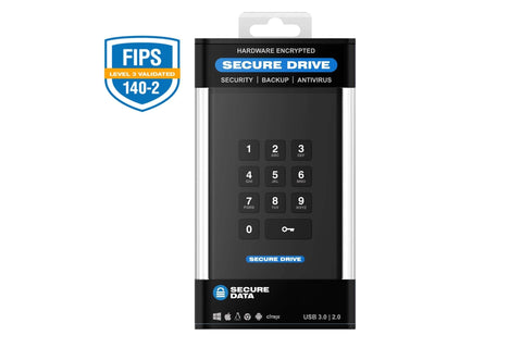 Image of Secure Drive 1 TB - HDD SecureDrive® KP Hardware Encrypted External Portable Drive SD-KP-12-BL1000GB