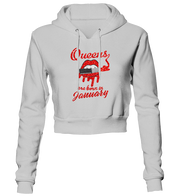 Queens Are Born In January Glitter Cropped Hoodie