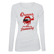 Queens Are Born In January Glitter Ladies Long Sleeve Shirt