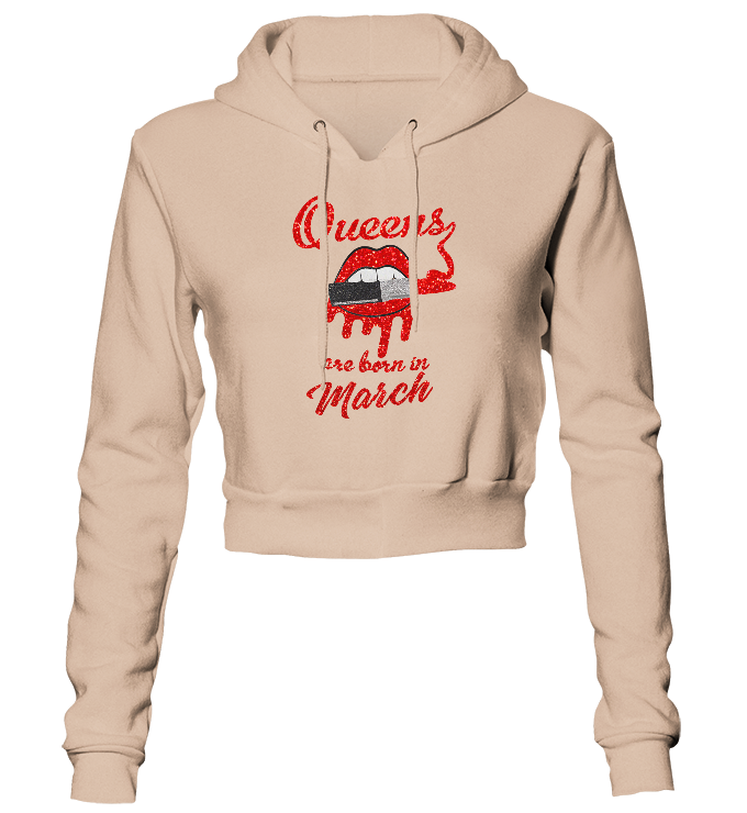 Queens Are Born In March Glitter Cropped Hoodie