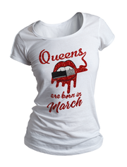 Queens Are Born In March Glitter Ladies Crew Neck Shirt