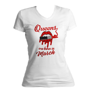 Queens Are Born In March Glitter Ladies V-Neck Shirt