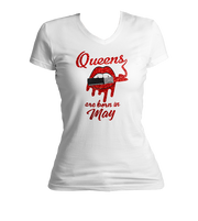 Queens Are Born In May Glitter Ladies V-Neck Shirt