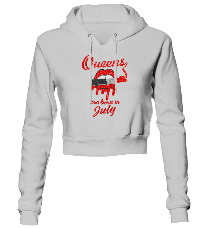 Queens Are Born In July Glitter Cropped Hoodie