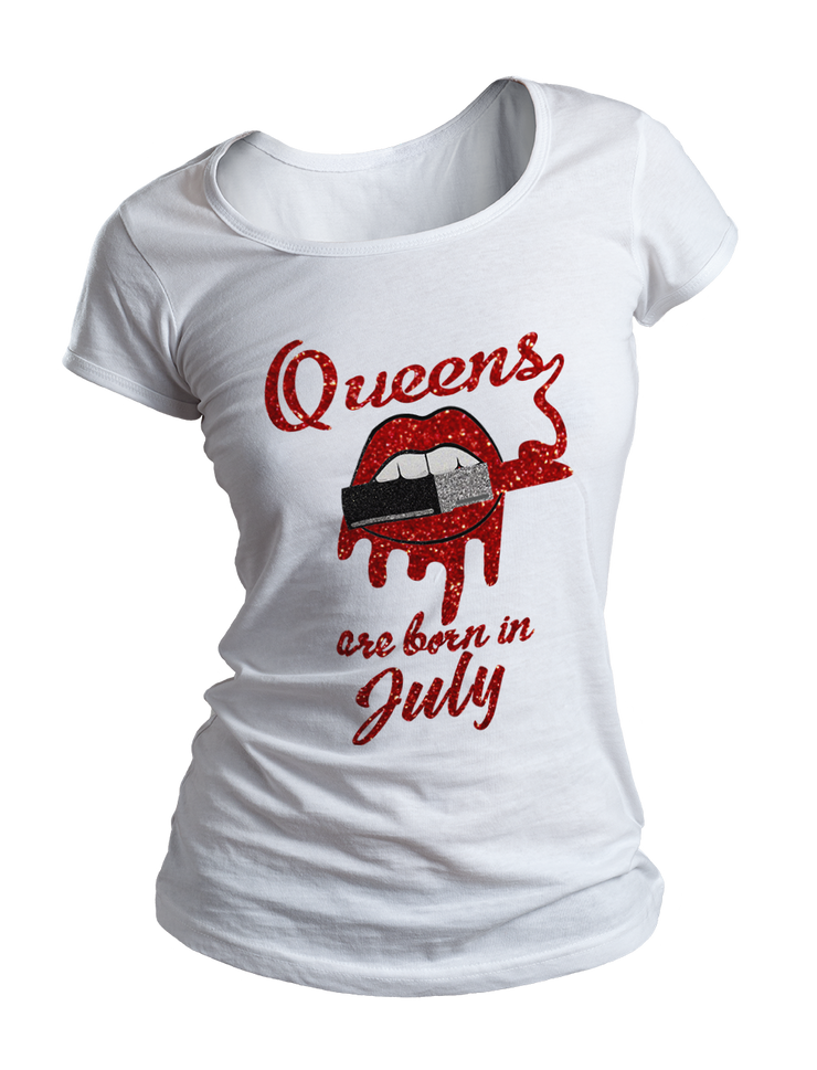Queens Are Born In July Glitter Ladies Crew Neck Shirt