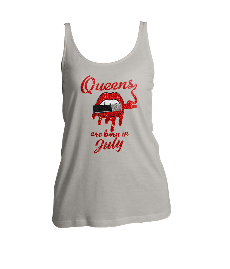 Queens Are Born In July Glitter Ladies Tank