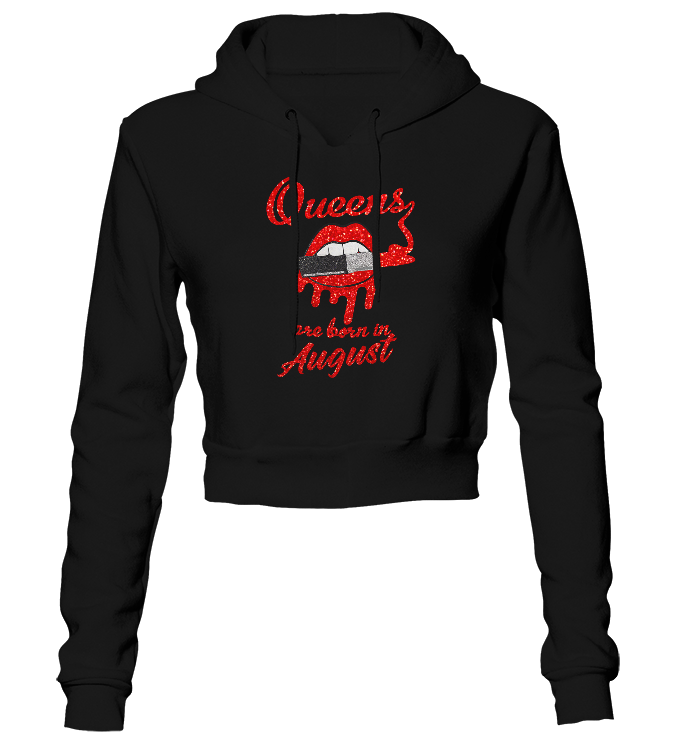 Queens Are Born In August Glitter Cropped Hoodie