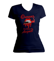 Queens Are Born In August Glitter Ladies V-Neck Shirt