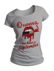 Queens Are Born In September Glitter Ladies Crew Neck Shirt