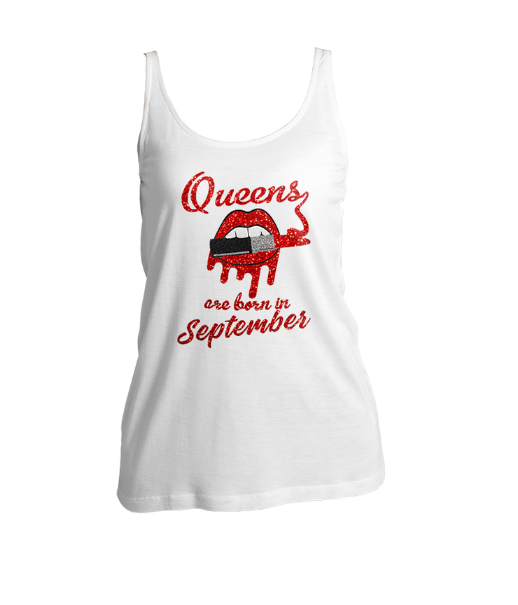 Queens Are Born In September Glitter Ladies Tank