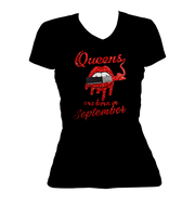 Queens Are Born In September Glitter Ladies V-Neck Shirt