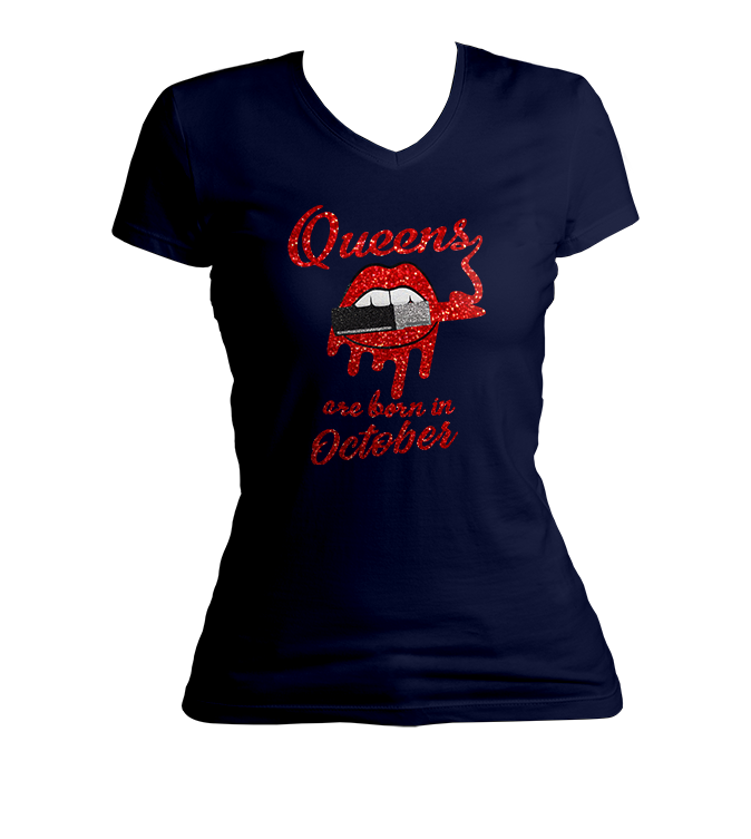 Queens Are Born In October Glitter Ladies V-Neck Shirt