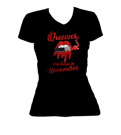 Queens Are Born In November Glitter Ladies V-Neck Shirt