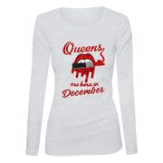 Queens Are Born In December Glitter Ladies Long Sleeve Shirt