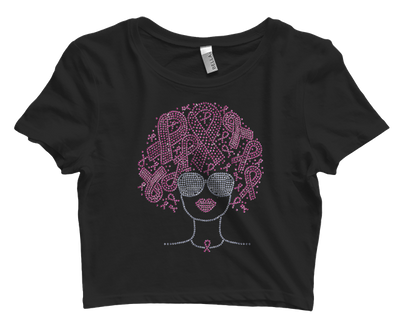 Pink Ribbons Afro Bling Crop Top