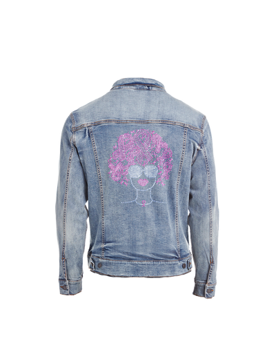 Pink Ribbons Afro Bling Denim Jacket