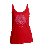 Pink Ribbons Afro Bling Ladies Tank Top