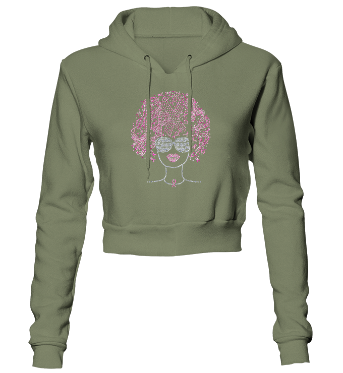 Pink Ribbons Afro Bling Cropped Hoodie