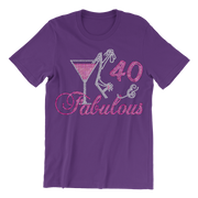 Fabulous Birthday w/Martini Rhinestone Unisex Shirt