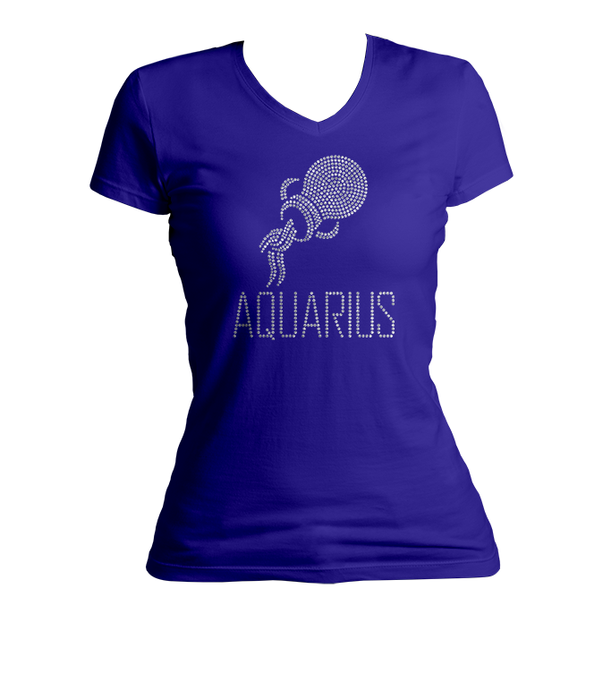 Aquarius Horoscope Bling V-Neck Shirt