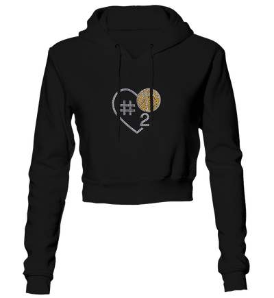 Basketball Heart w/Jersey Number Bling Cropped Hoodie