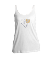 Basketball Heart w/Jersey Number Bling Ladies Tank Top