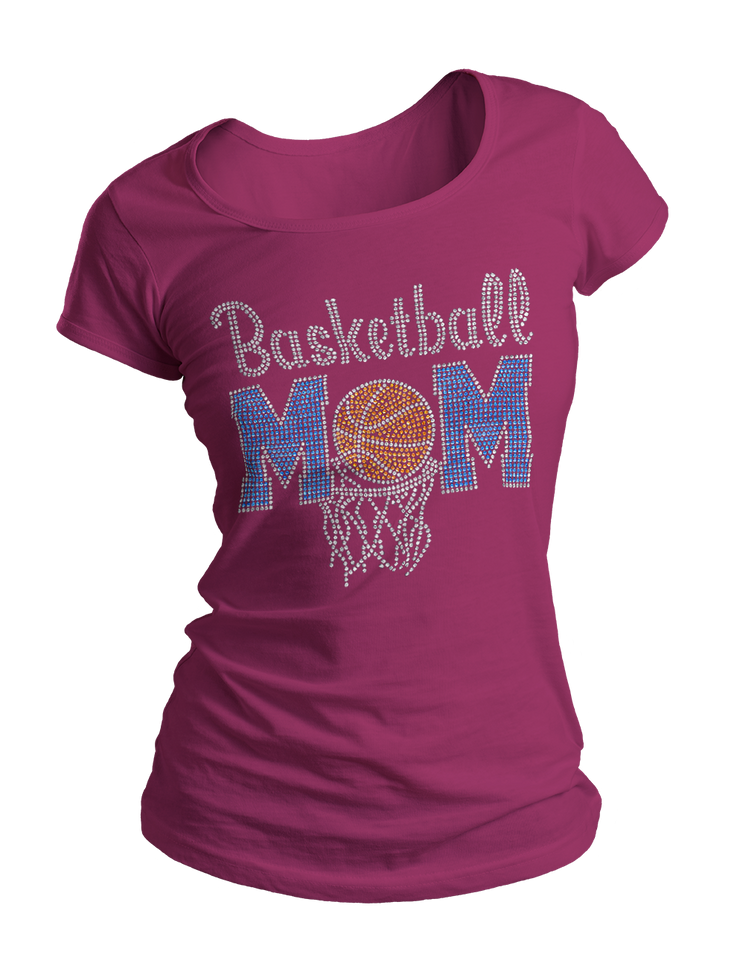 Basketball Mom Bling Crew Neck Shirt