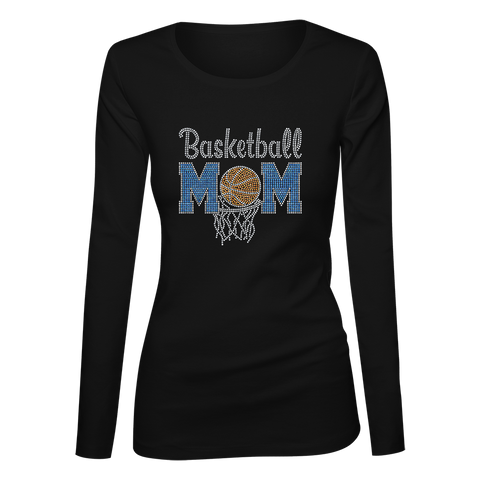 Basketball Mom Bling Ladies Long Sleeve Shirt