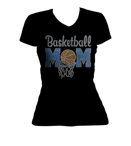 Basketball Mom Bling V-Neck Shirt