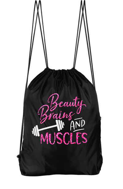 Beauty Brains And Muscles Drawstring Backpack