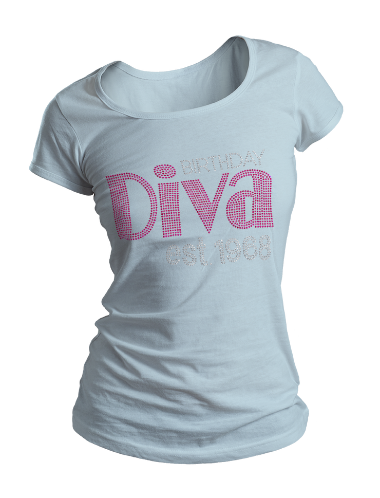 Birthday Diva Bling Crew Neck Shirt