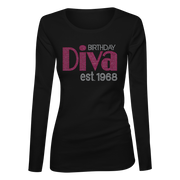 Birthday Diva Bling Ladies Long Sleeve Shirt