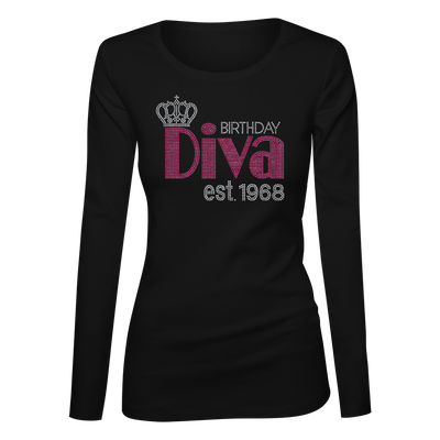 Birthday Diva w/Crown Bling Ladies Long Sleeve Shirt