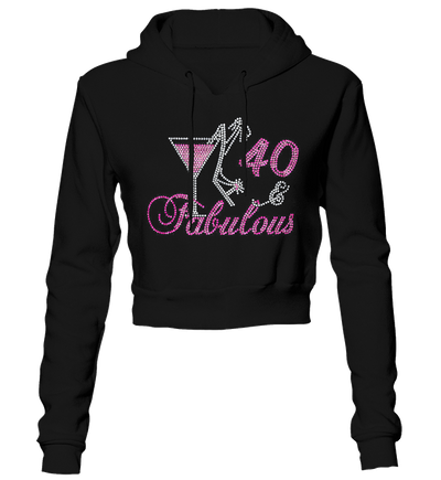 Birthday Number Fabulous w/Martini Bling Cropped Hoodie