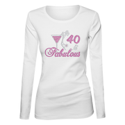 Birthday Number Fabulous w/Martini Bling Ladies Long Sleeve Shirt